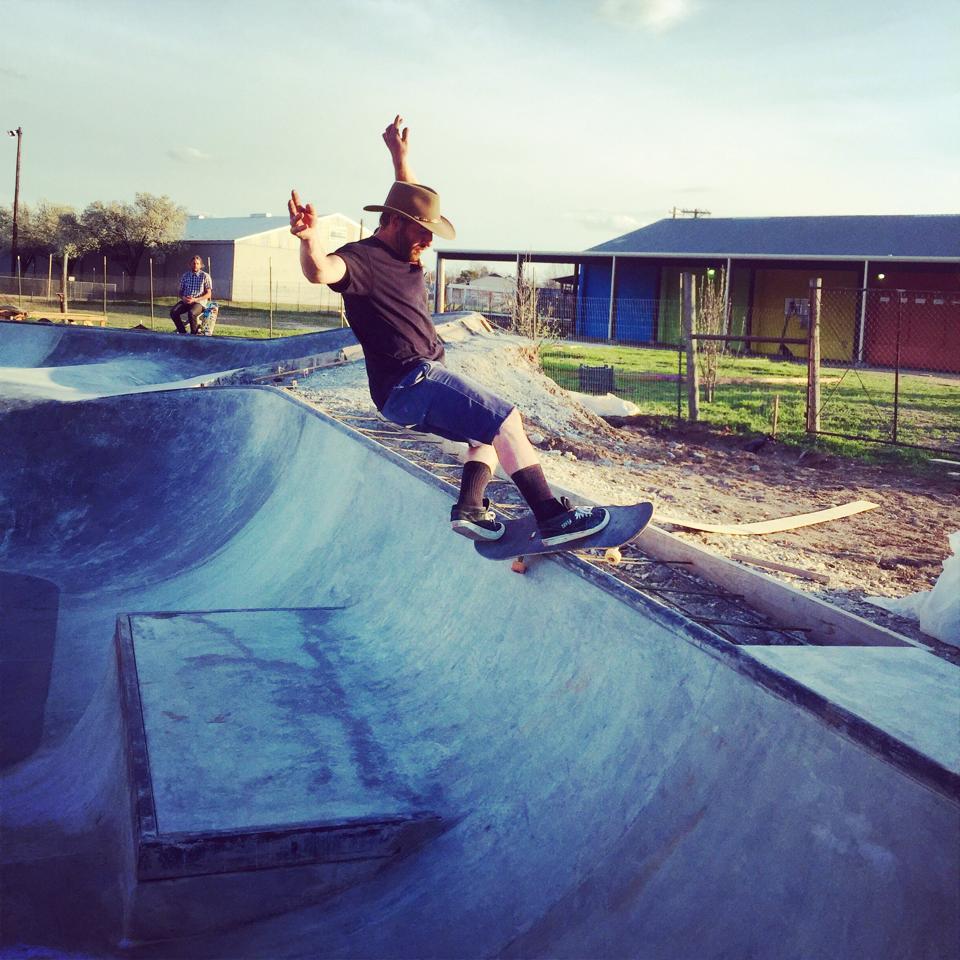 Chris Hogan frontside feeble at the Fredericksburg, Texas Skatepark