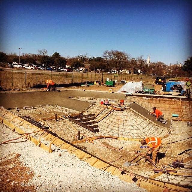 First concrete pour at the Fredericksburg, Texas Skatepark