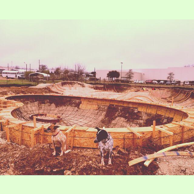Heyla & Noot guard the kidney bowl at the Fredericksburg, Texas Skatepark site
