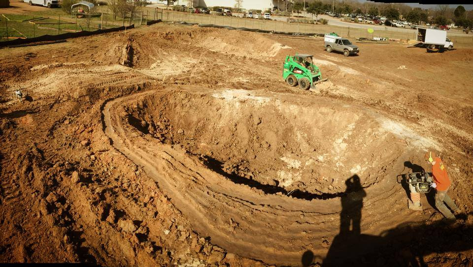 Early stages of the kidney bowl at the Fredericksburg, Texas Skatepark