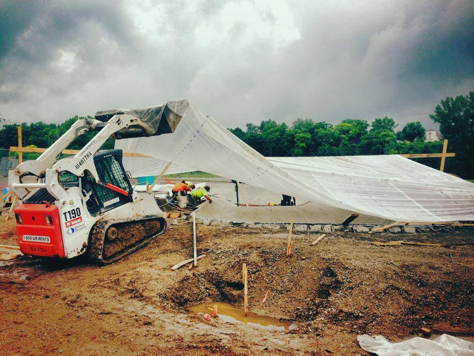 The rain doesn't stop us from pouring concrete!