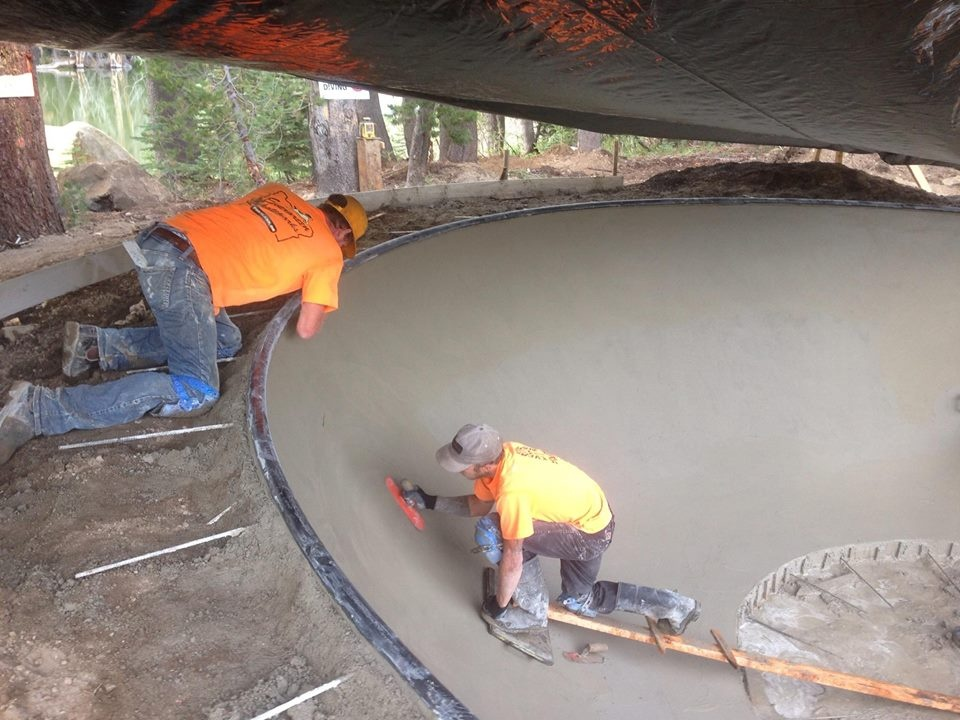 Finishing concrete at the Woodward Tahoe Skatepark