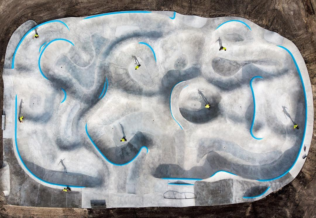 The Taylor, Texas skatepark from above - endless lines.