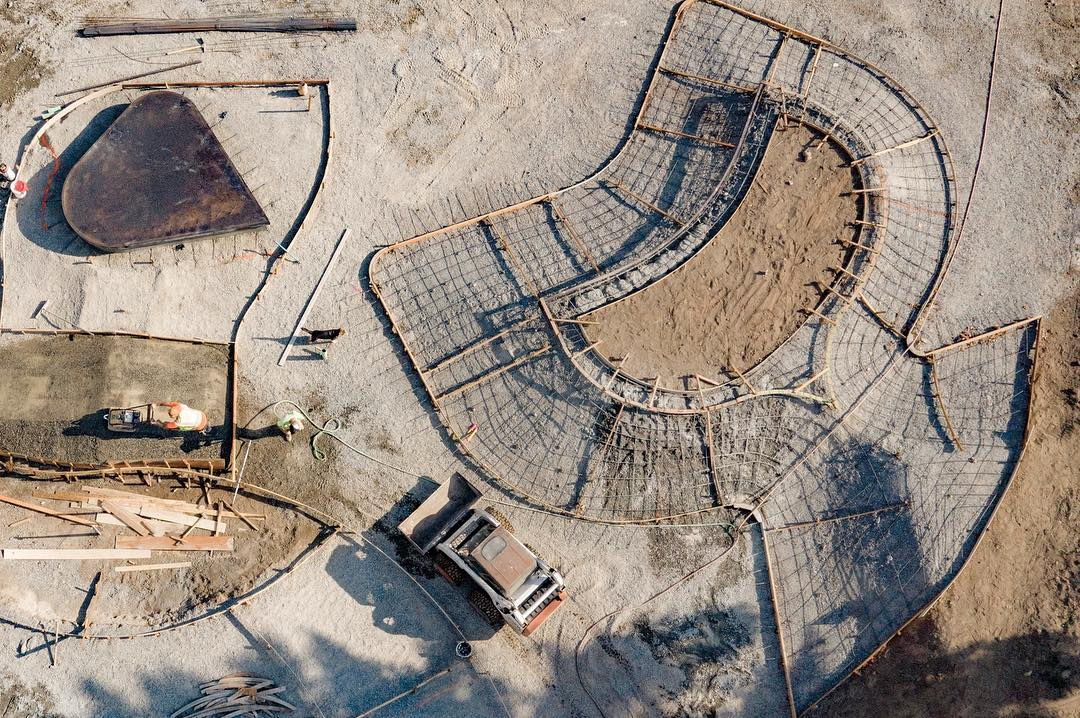 Skate plaza construction from above in Coeur d'Alene, Idaho 💥