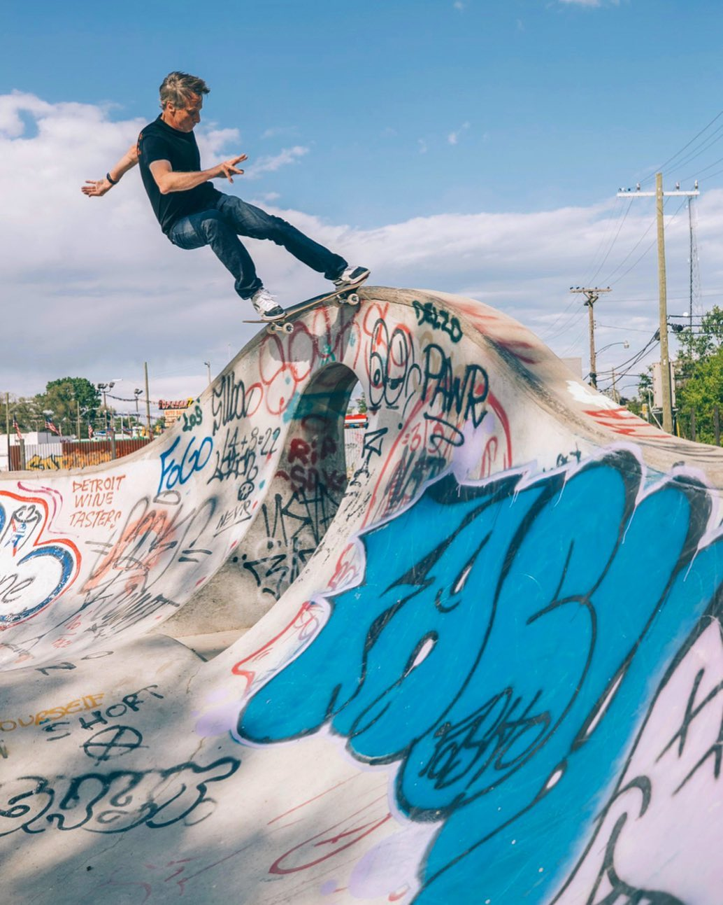 @tonyhawk gets some #detroitskateboarding action at #rideitsculpturepark over the weekend