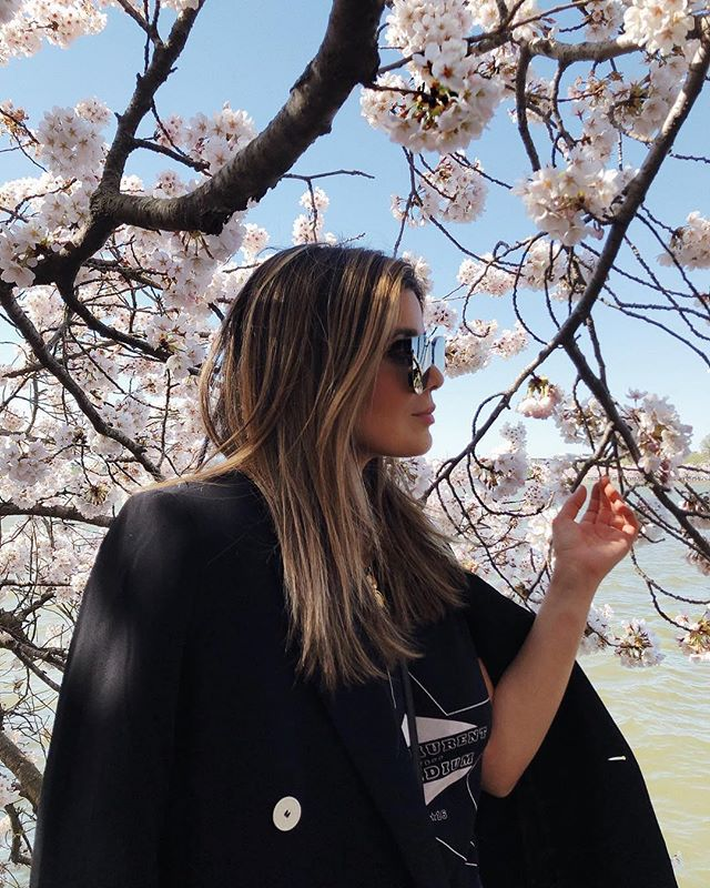 April means cherry blossoms are in full bloom. One of our favorite times of the year! DC-based @sara.azani is lucky enough to be right next door to the best cherry blossom location on the East Coast. 🌸 🌸 🌸 🌸 #Boldstreak ⠀