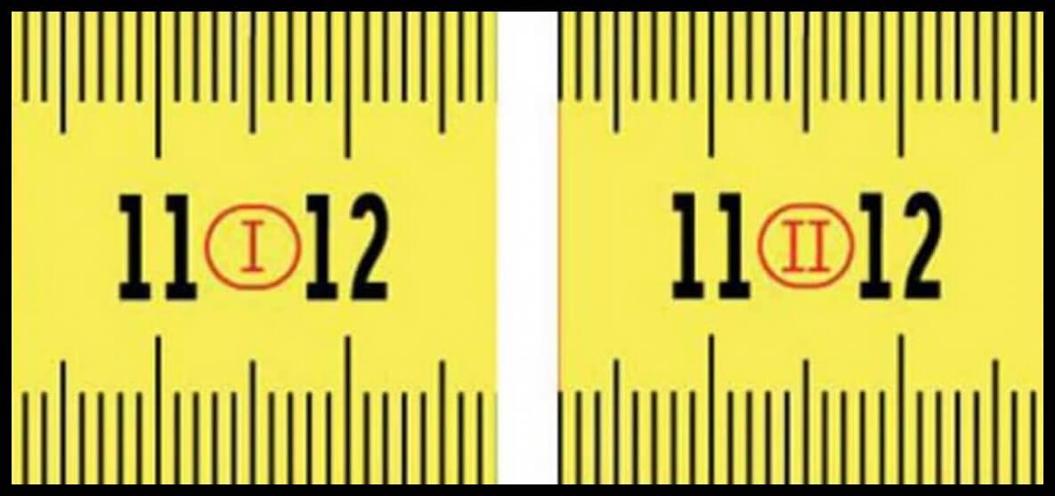 Tape measure numbers roman
