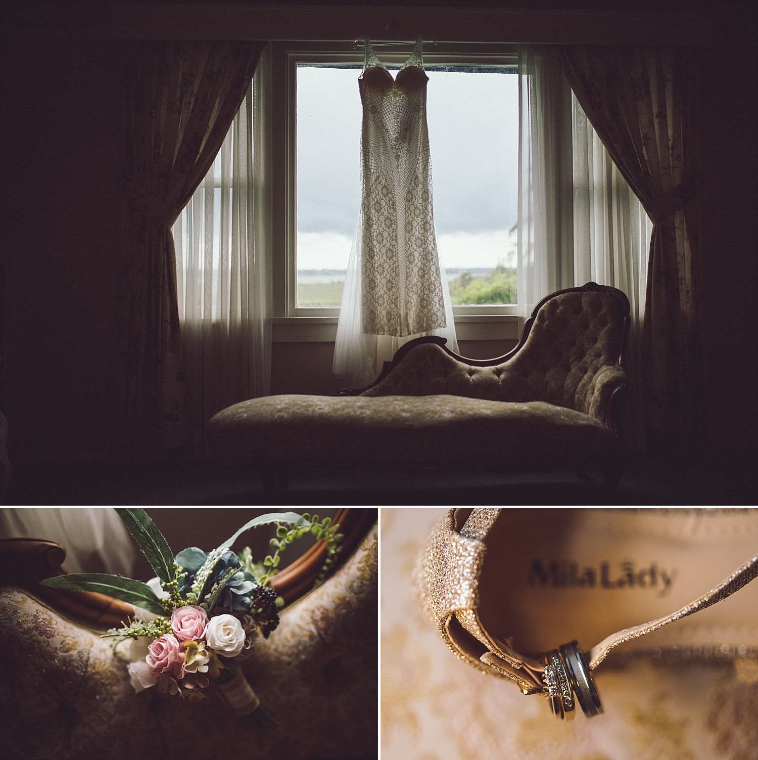 Vancouver Wedding Photographer Andrew Lukianiuk captures wedding details including dress, flowers, and rings