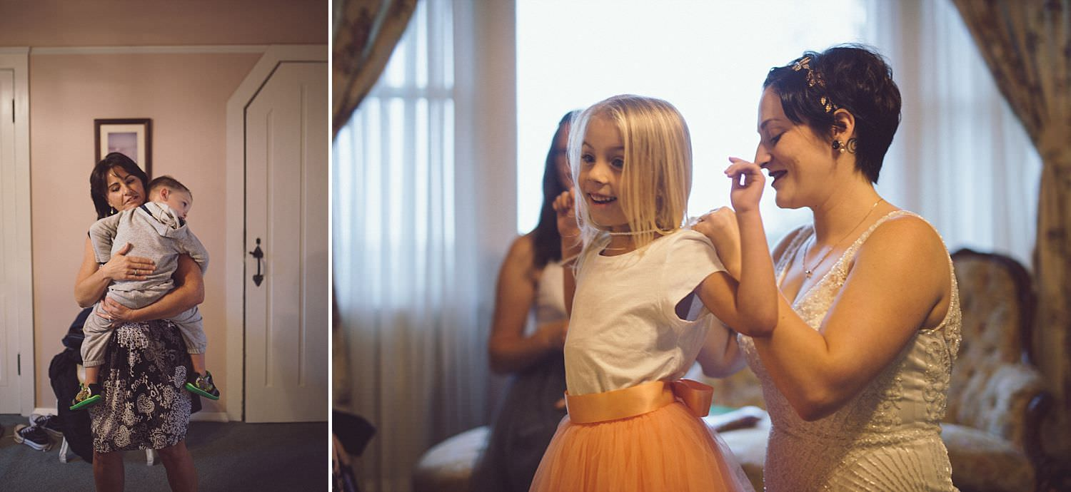 The ringbearer and flowergirl getting ready