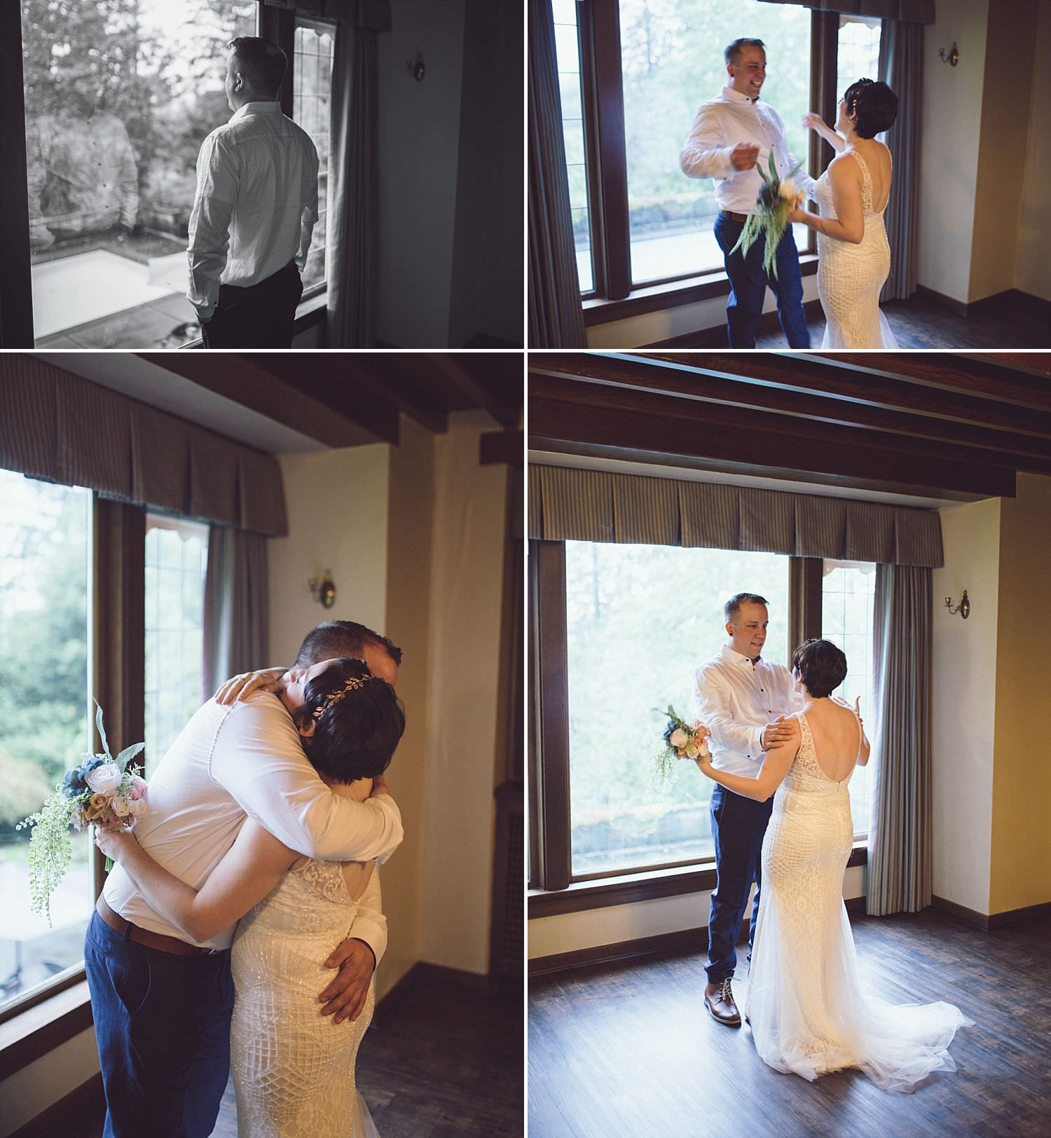 Bride and Groom do a First Look before their wedding ceremony at Minnekhada Lodge