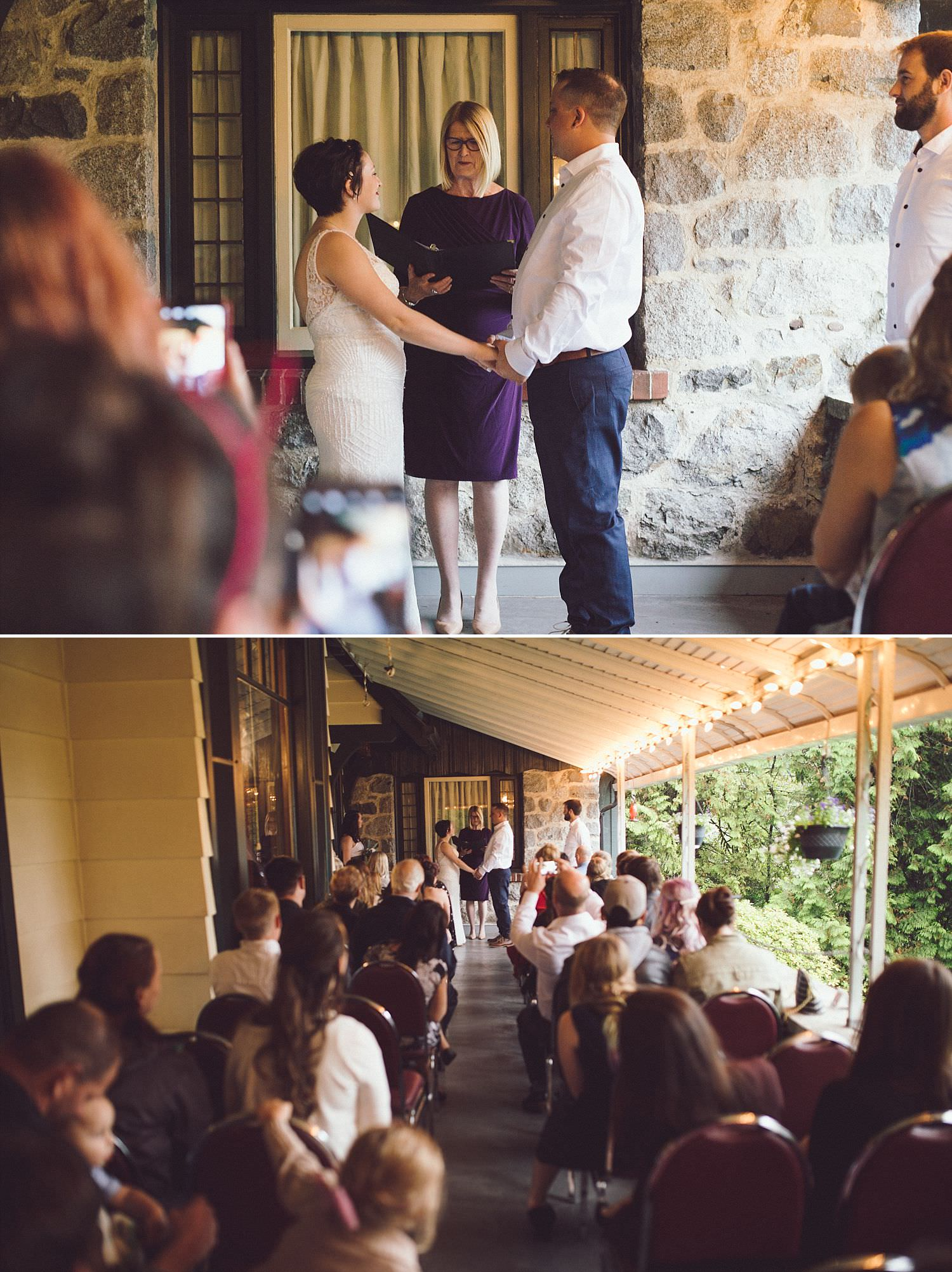 Intimate and Romantic wedding ceremony under the covered patio at Minnekhada Lodge in Coquitlam, BC