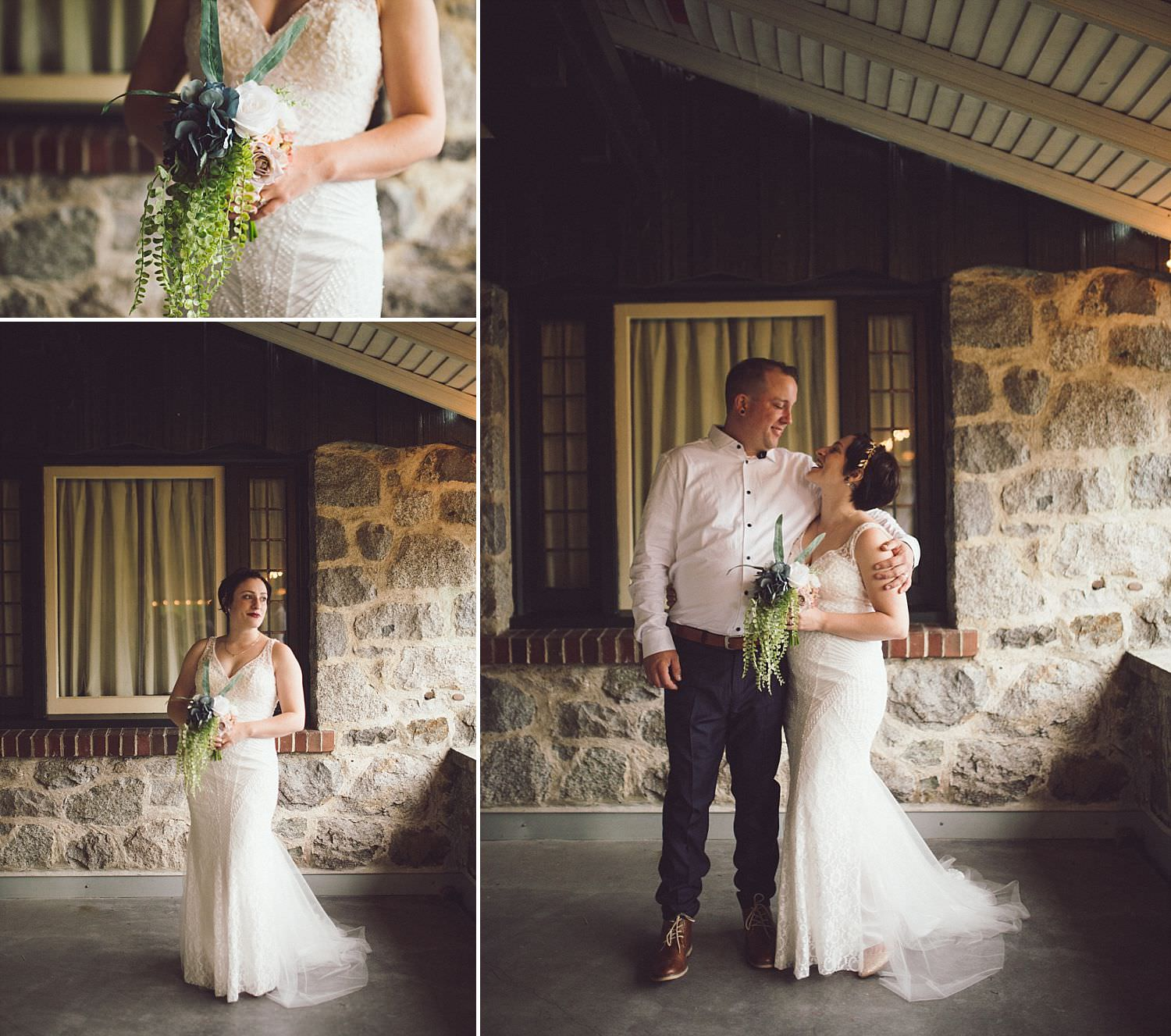 Bride and Groom portrait under the covered patio at Minnekhada Lodge in Coquitlam