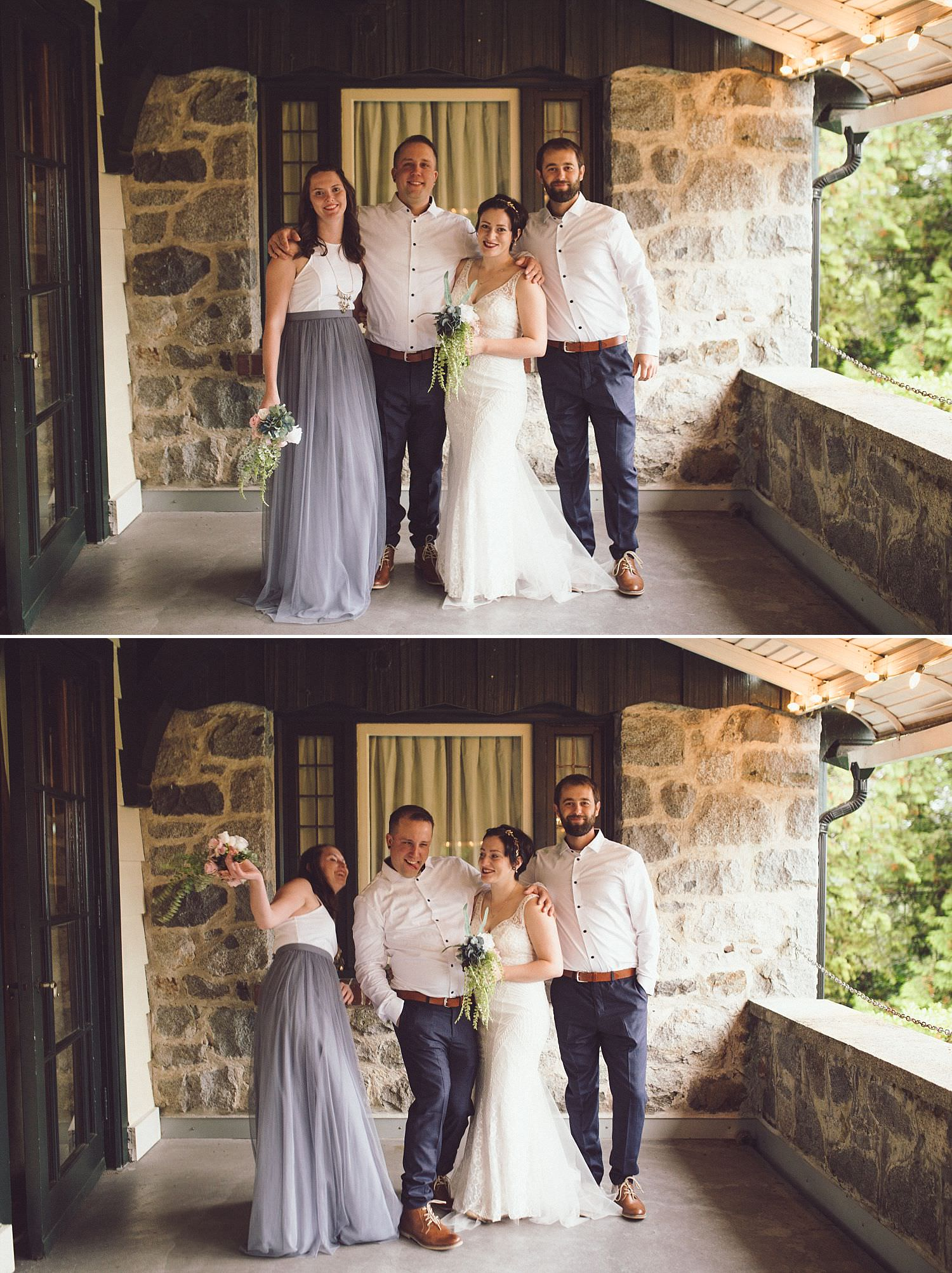Small wedding party, maid of honour and best man with the married couple