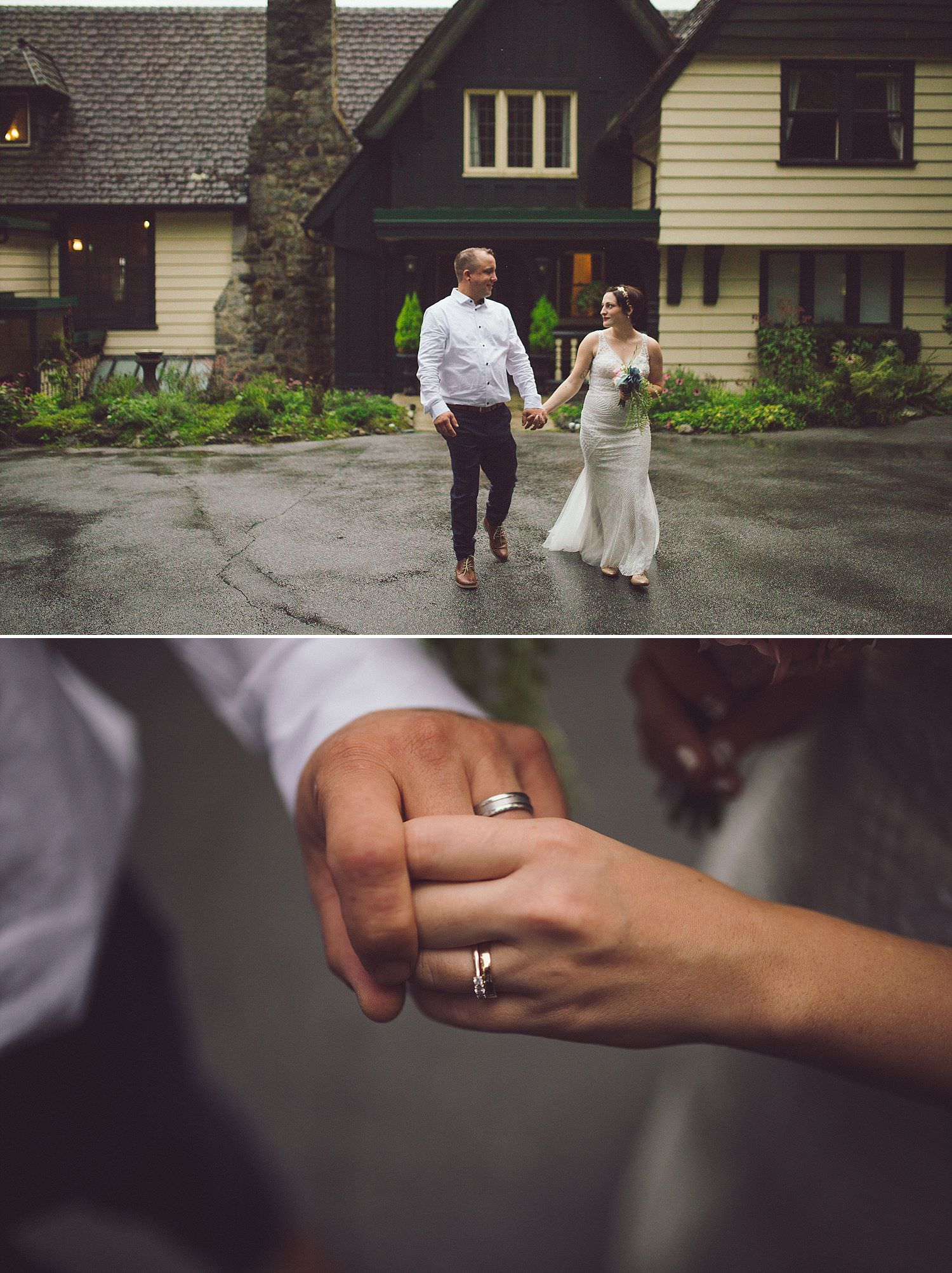 Bride and Groom go for a walk in front of Minnekhada Lodge, rings on hands