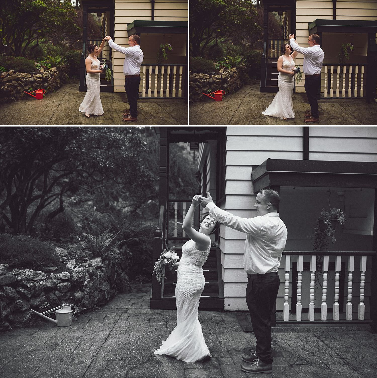 Groom gives his bride a twirl in her wedding dress