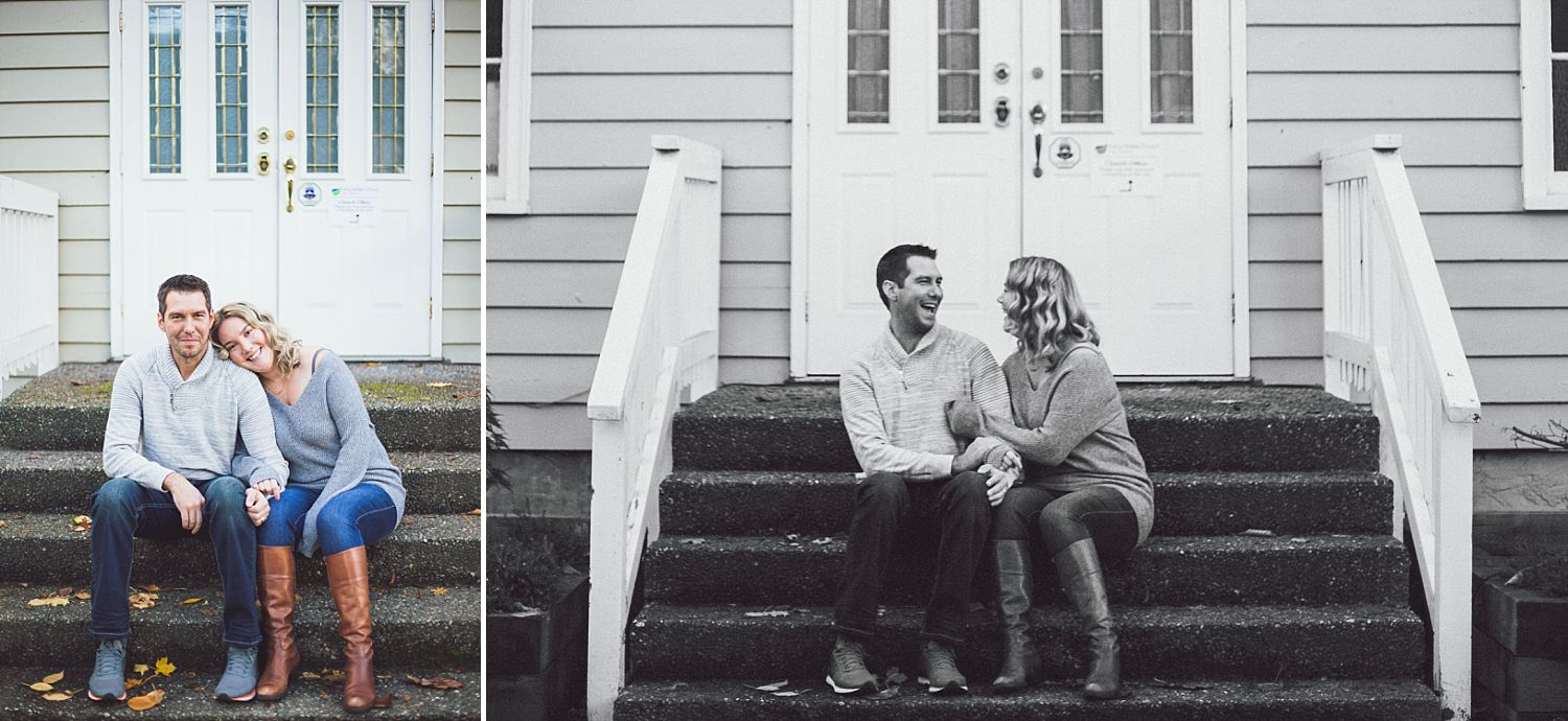 Couple celebrating anniversary by taking photos on church stairs