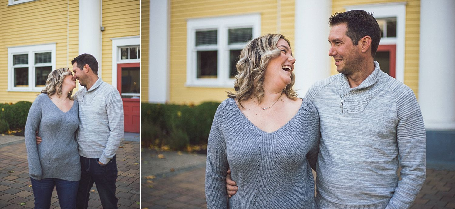 David and Erica take portraits in front of Fort Langley Community Hall in Fort Langley