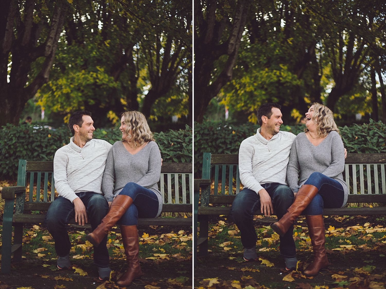 David and Erica sitting on the bench in the fall outside of the Fort Langley Community Hall