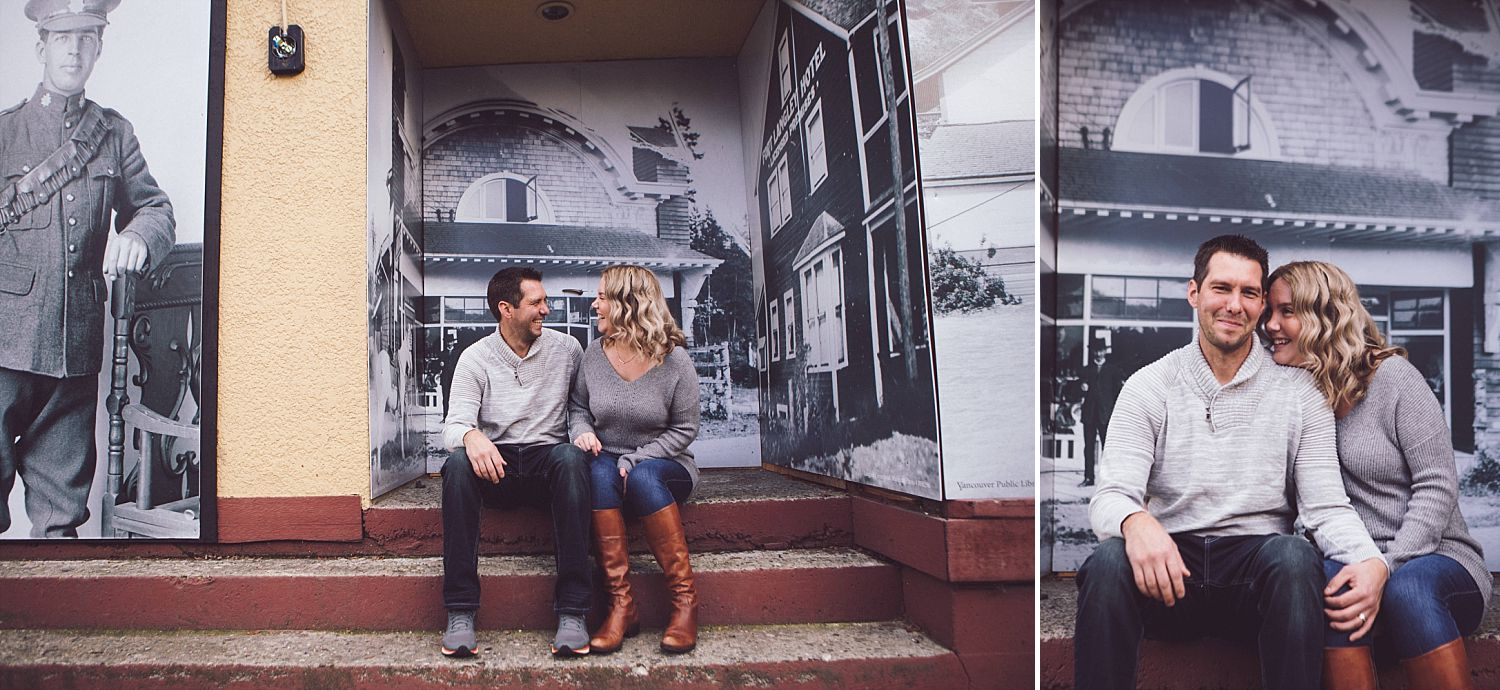 David and Erica sitting on the stairs on the street in Fort Langley