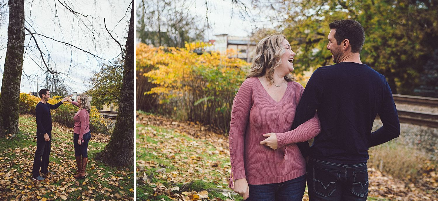 Couple dancing in the leaves in  Fort Langley Marina Park