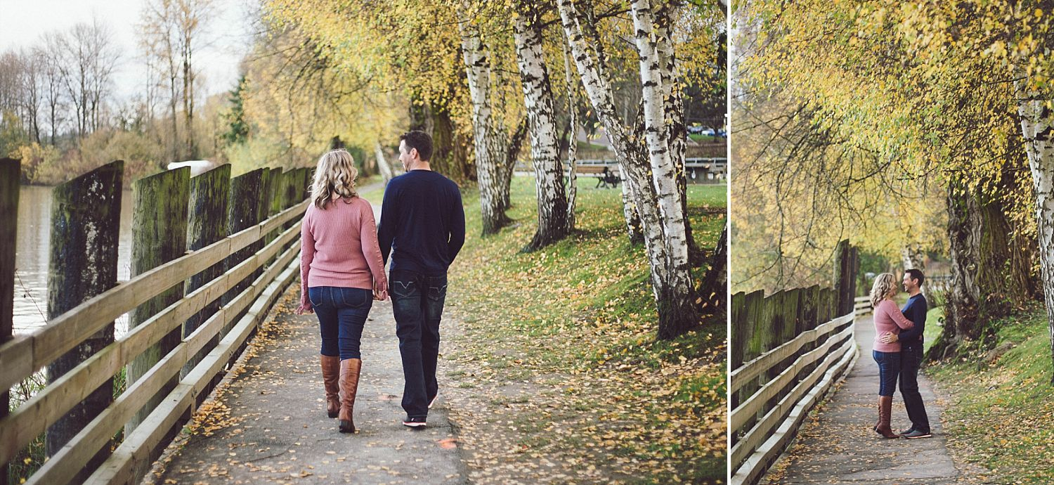 David and Erica walking along the river in Fort Langley