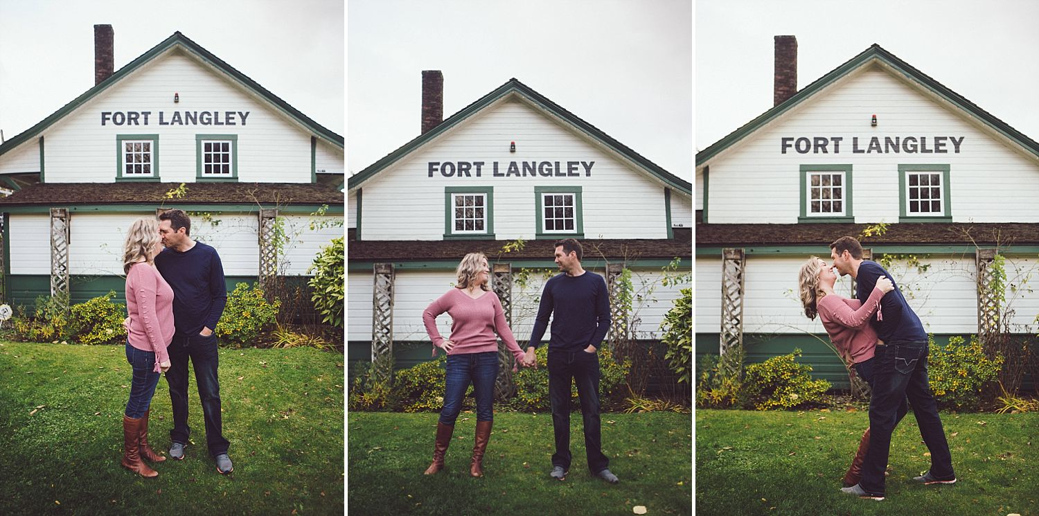 Erica and David standing in front of the  CN Station in Fort Langley