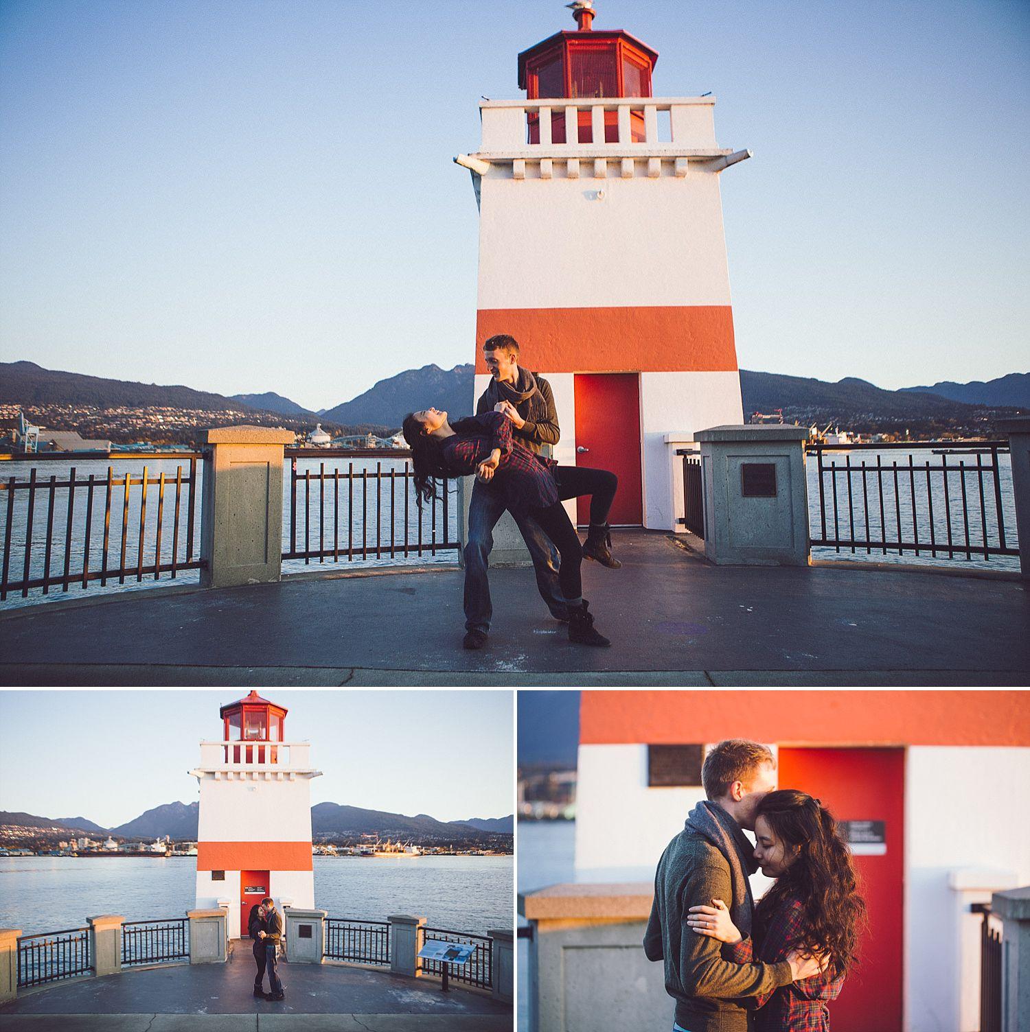 Couple dances at the Brockton Point Lighthouse