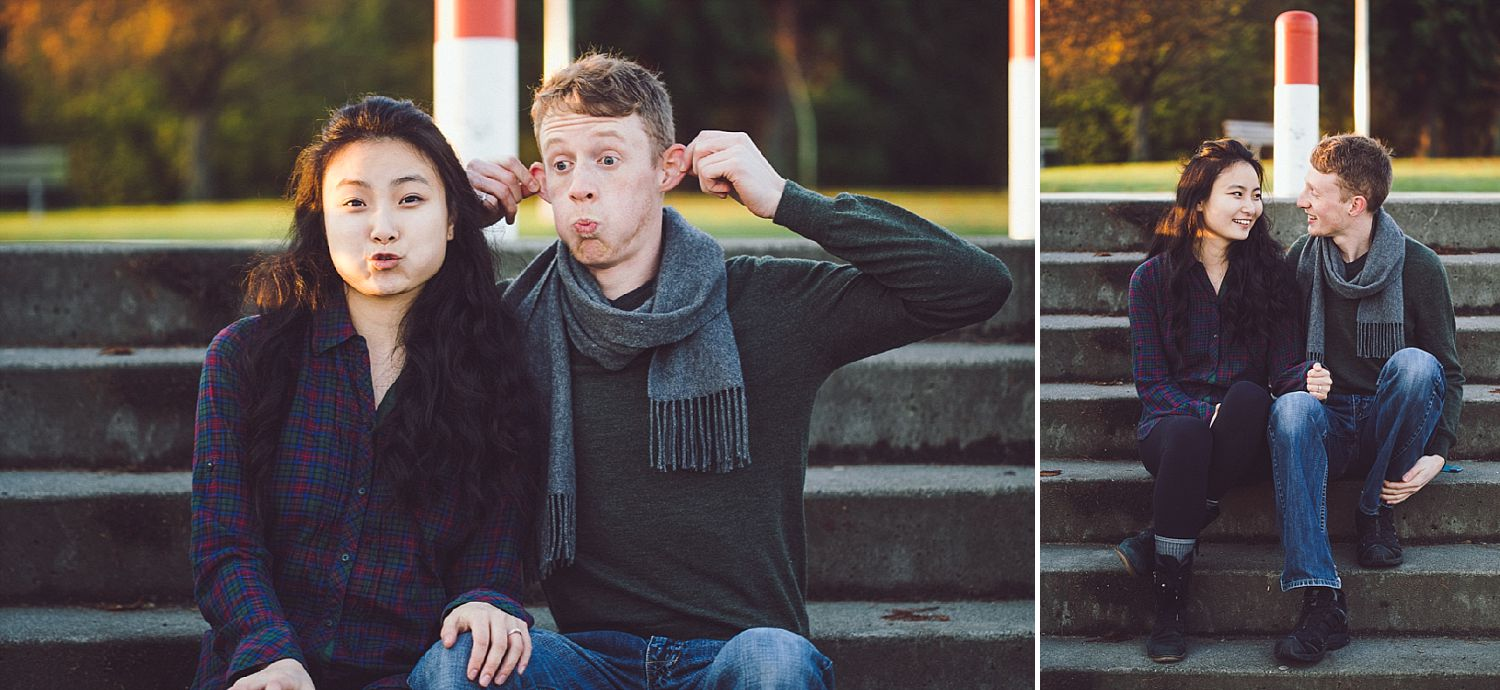 Tim and Angel make silly faces during their engagement session with Andrew Lukianiuk in Stanley Park