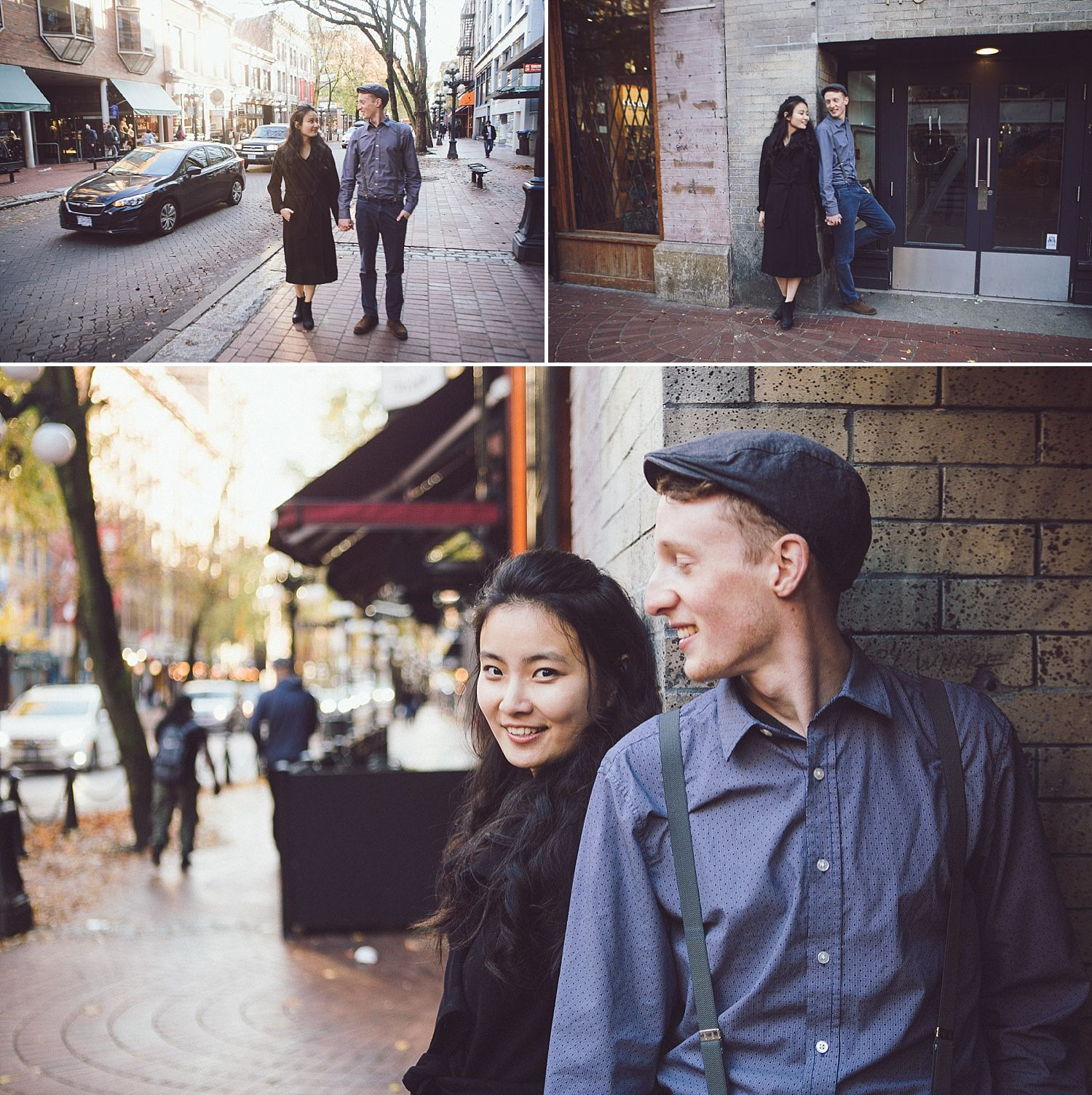 Couple posing for engagement photos on the street in Gastown, Vancouver