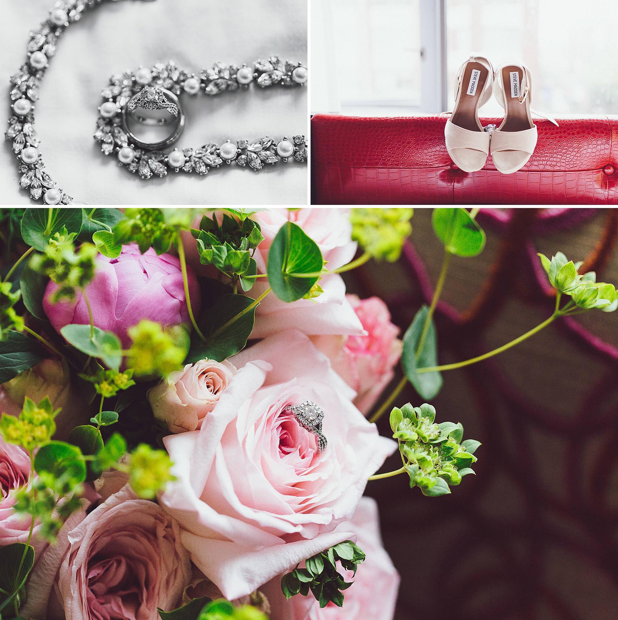 Weddings details, rings, flowers