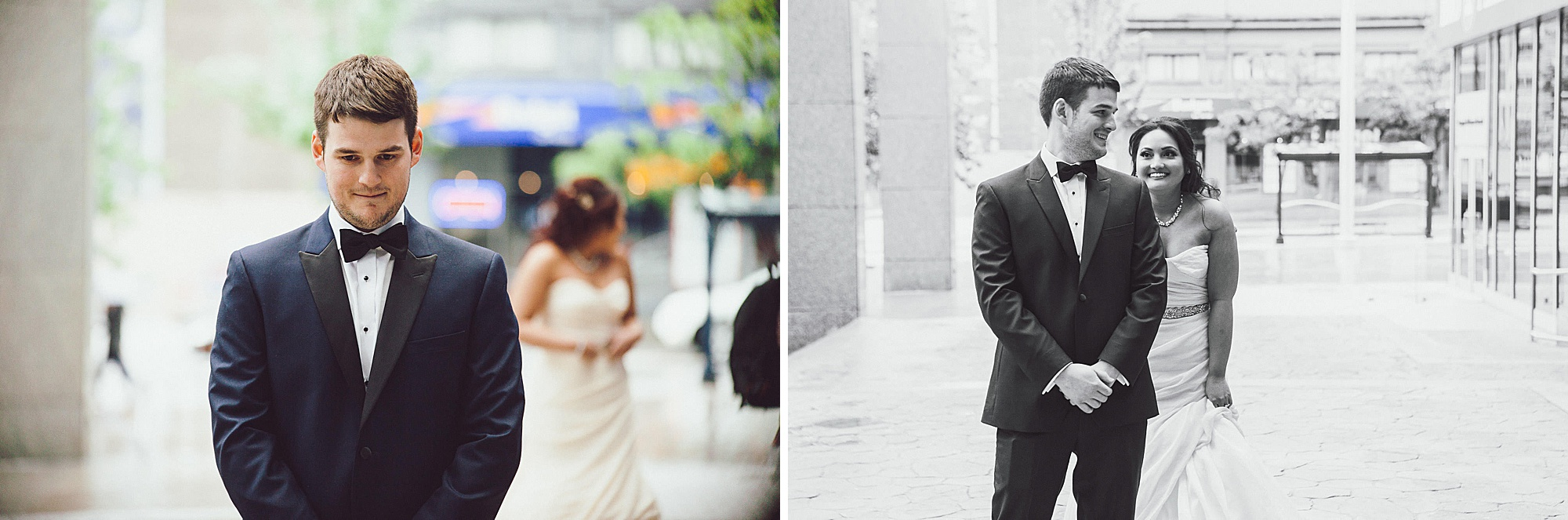 Bride walks up to groom during a First Look