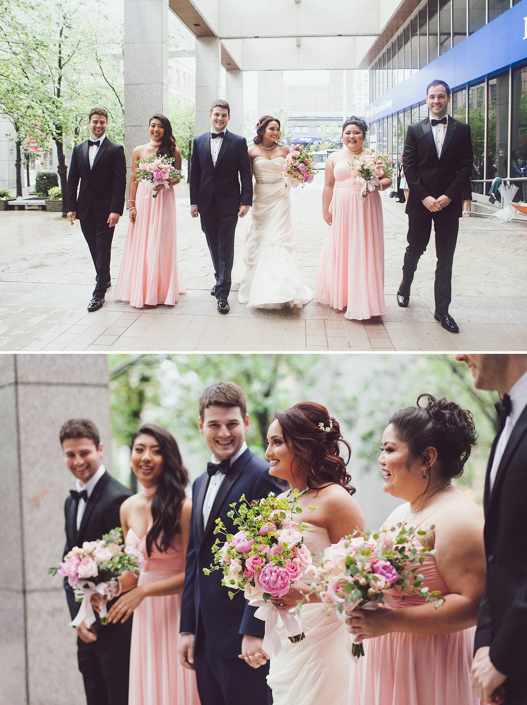 Wedding party poses for photos