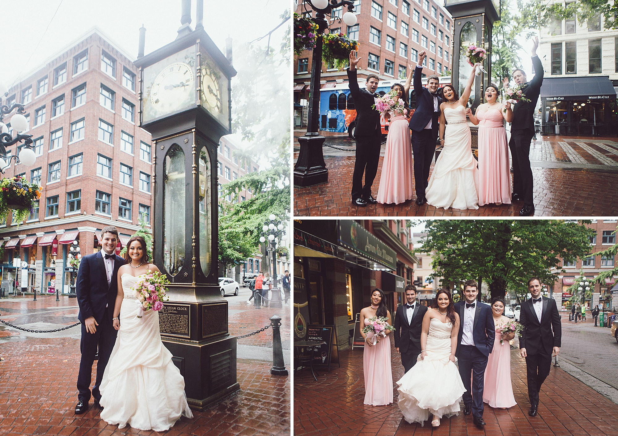 Wedding portraits in Gastown by the historic steam clock