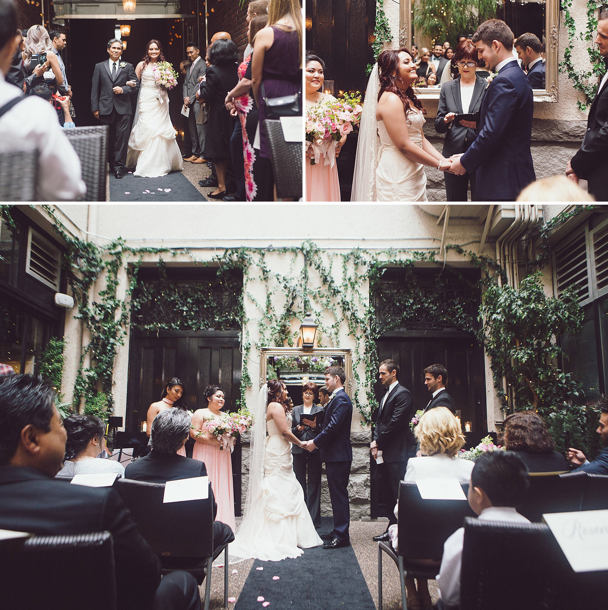 Cecille's dad walks her down the aisle at her wedding ceremony at the Brix and Mortar