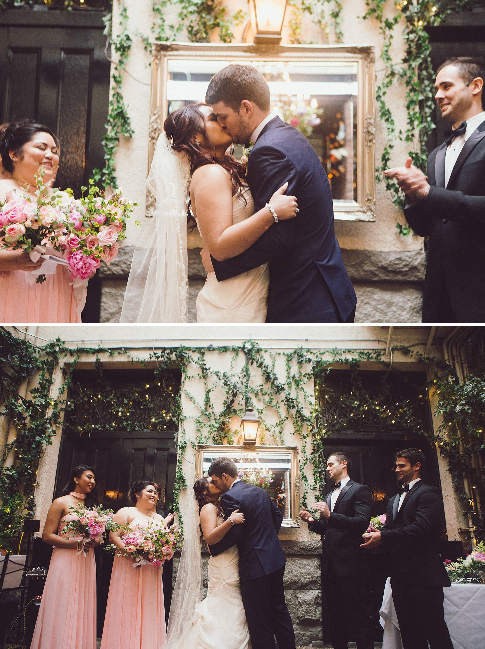 Bride and Groom share first kiss at their wedding