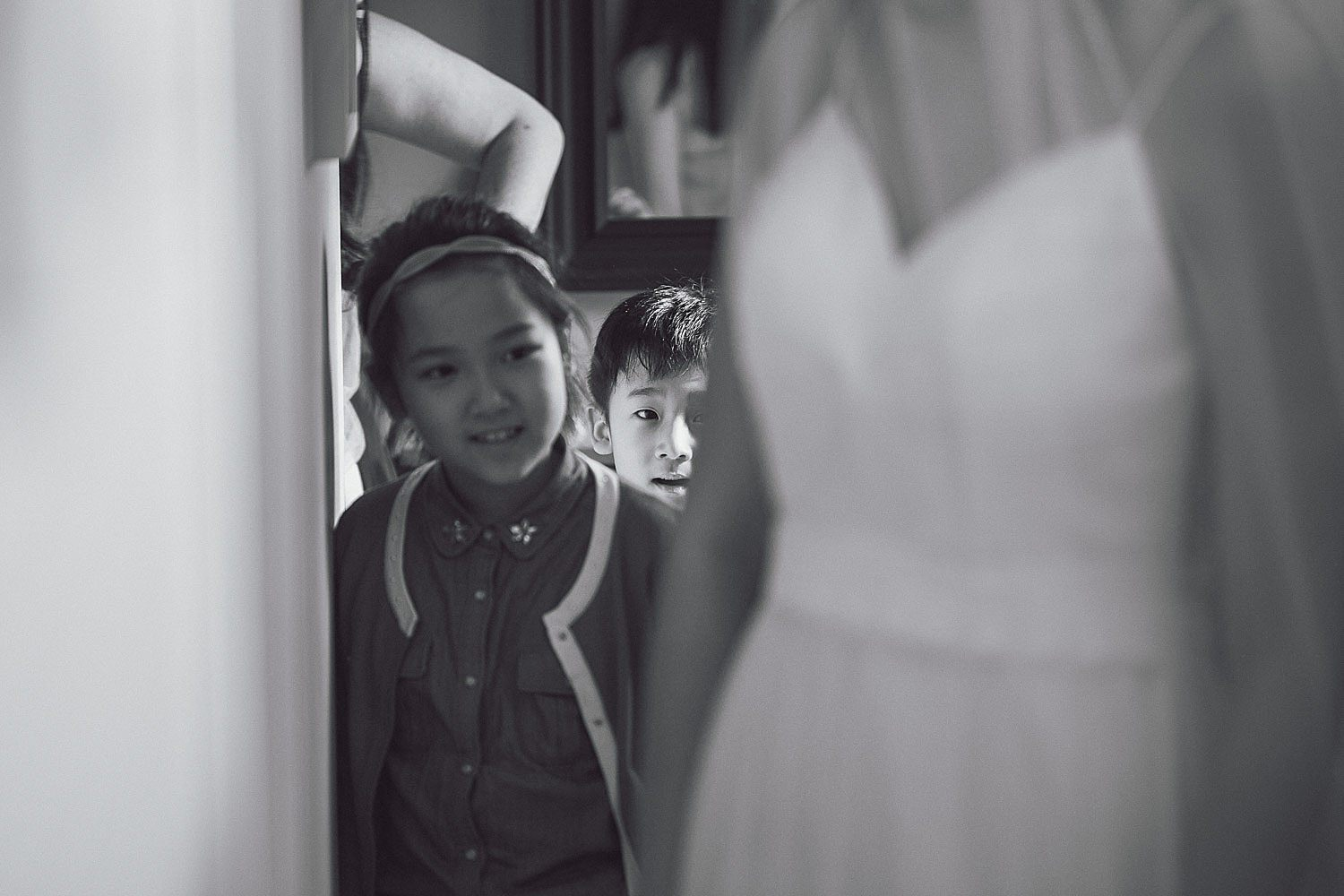 Nephew sneaks a peak at the bride