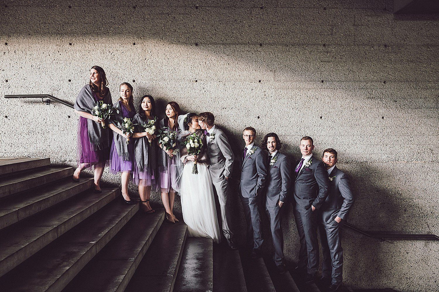Modern wedding party portraits in Burnaby