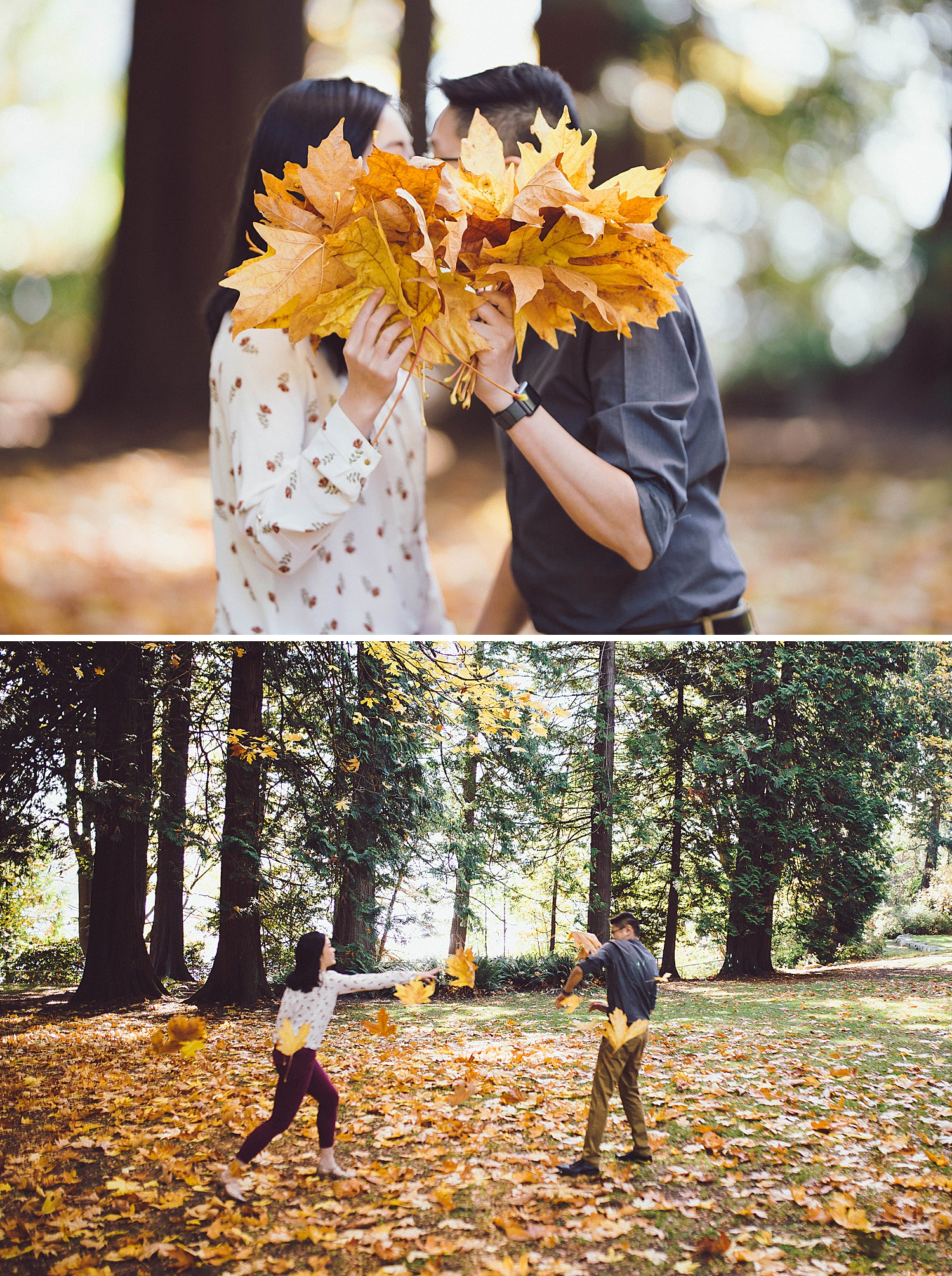 Joan and Mike pick up a handful of fall leaves to throw at each other
