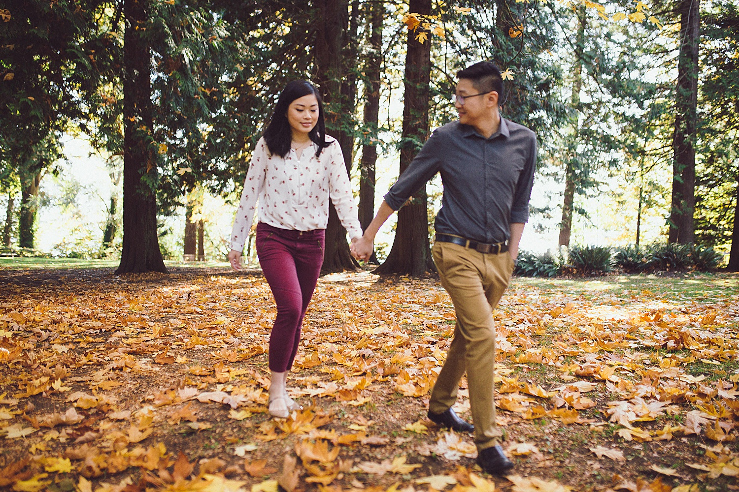 Fall engagement session at Whytecliff Park