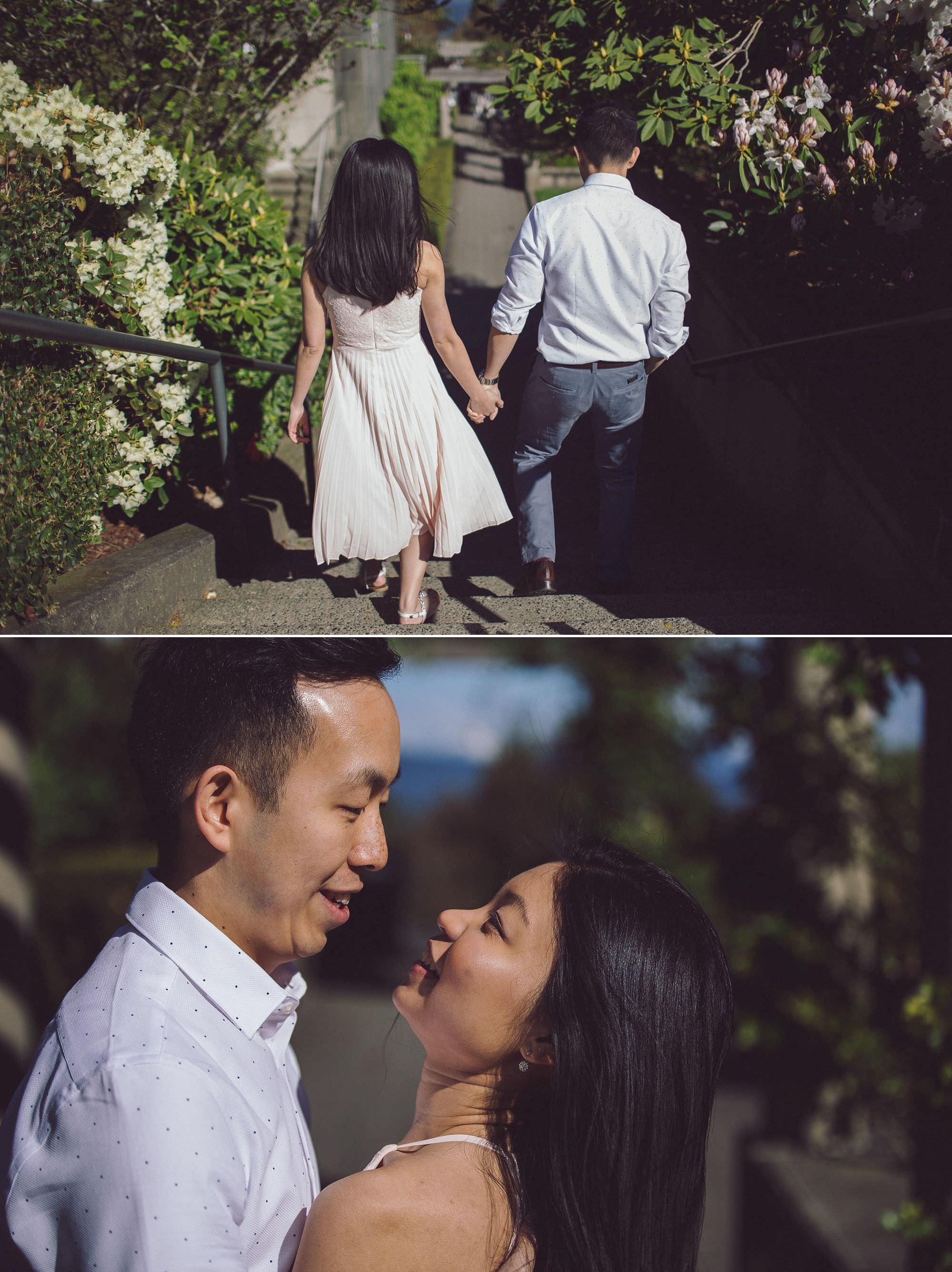 Engagement photos at UBC Rose Garden