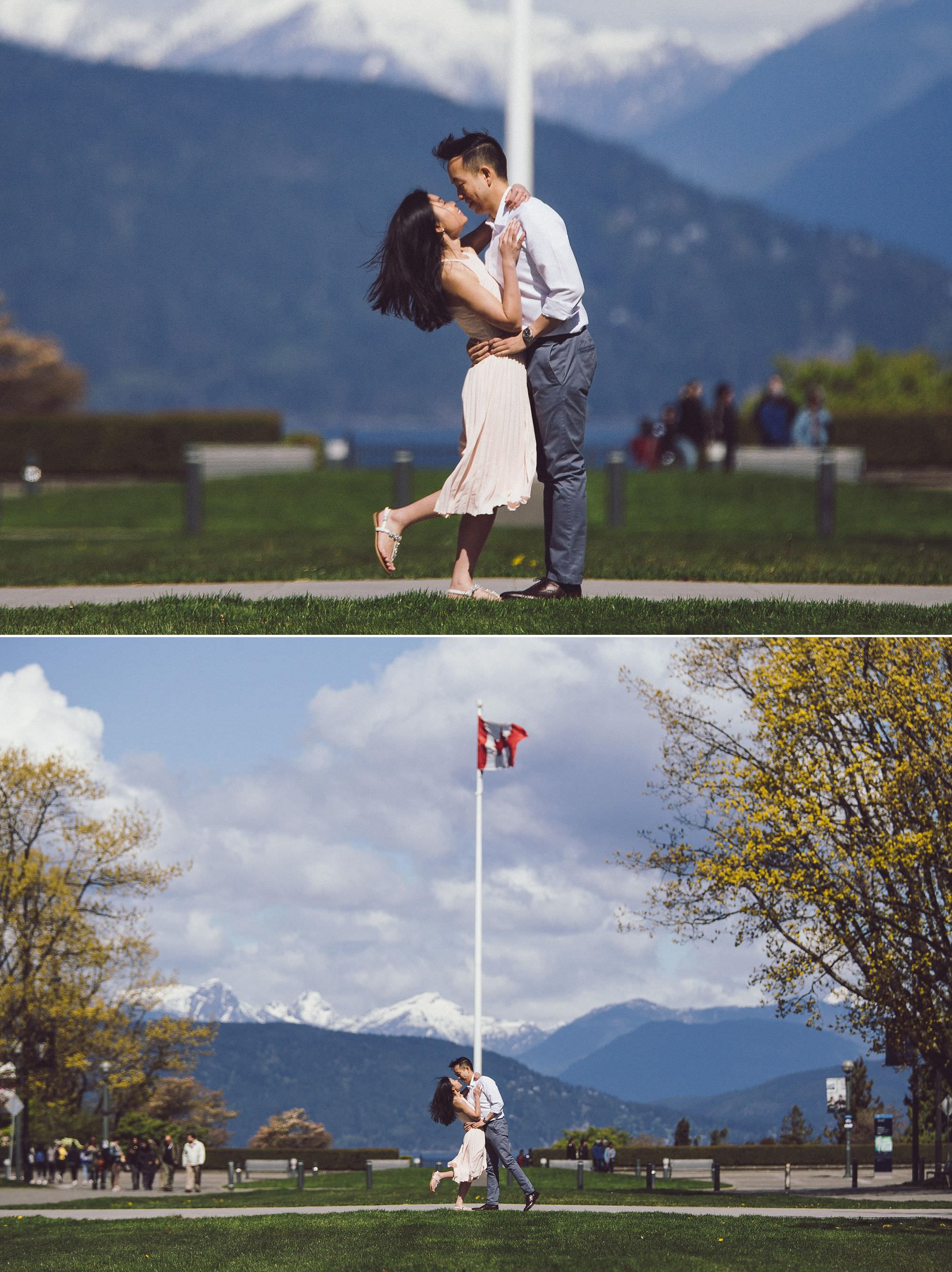 And of course, we had to end the session in front of the flag pole, with the snow-capped mountains in the background!