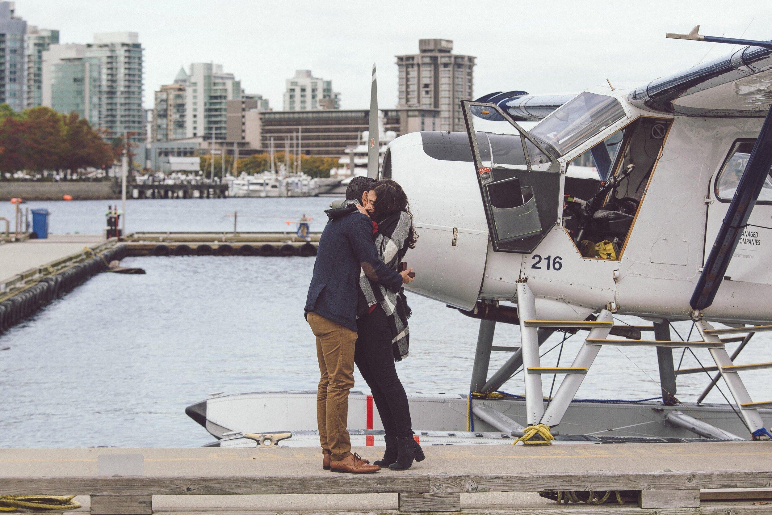 Surprise Proposal - Rafael + Andrea's Engagement at HarbourAir Vancouver