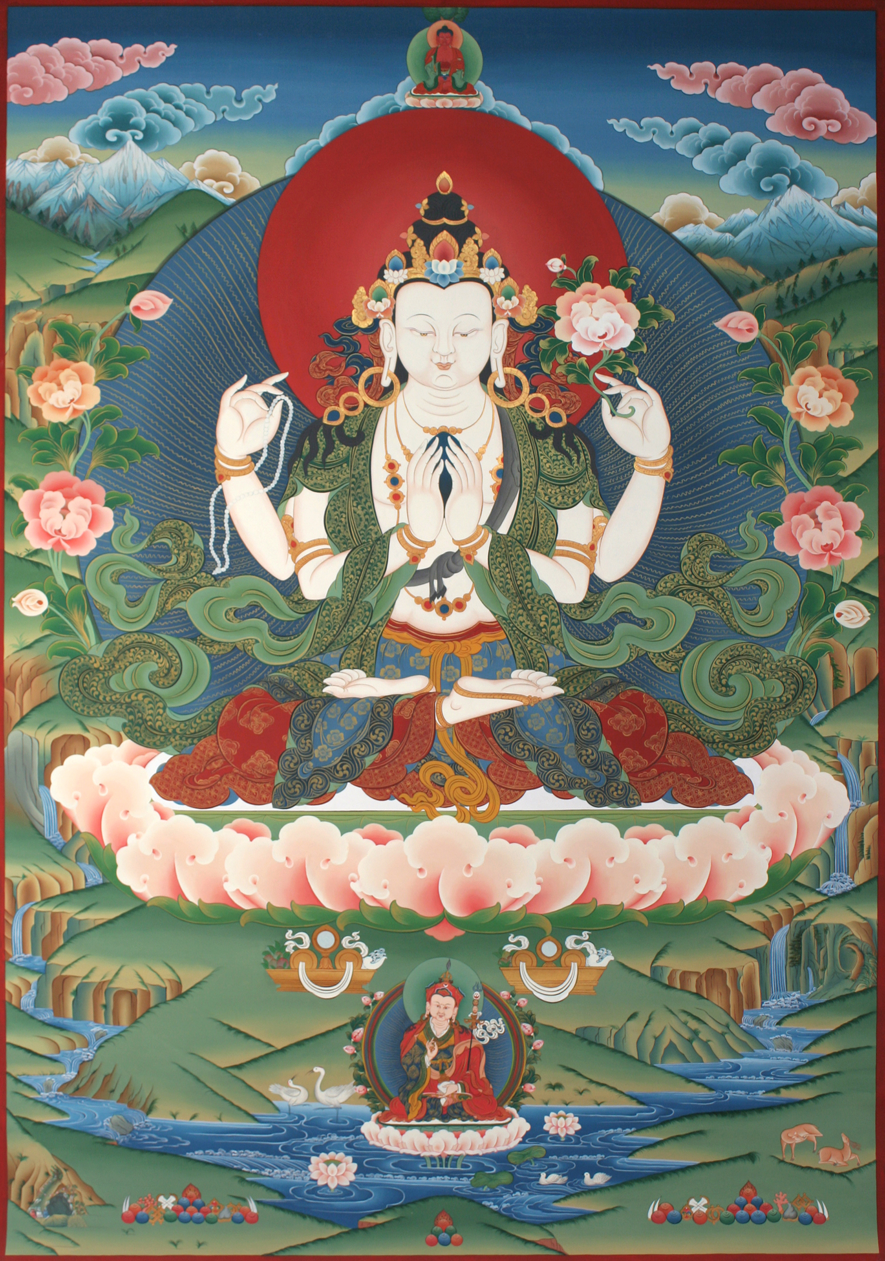The four-arm Chenrezig, or Avalokiteshvara, is the largest Thangka painting in Mustang, measuring 10 by 5.5 feet. The painting is widely admired for its narrative complexity, beauty of execution, and detailed drawing. Tempera on canvas, Mustang, Nepal, 2010.
