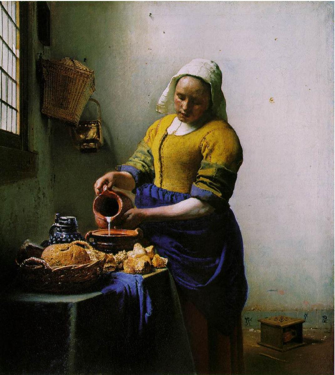 Johannes Vermeer,  The Milkmaid,  circa 1660 (Wikicommons, Rijksmuseum)