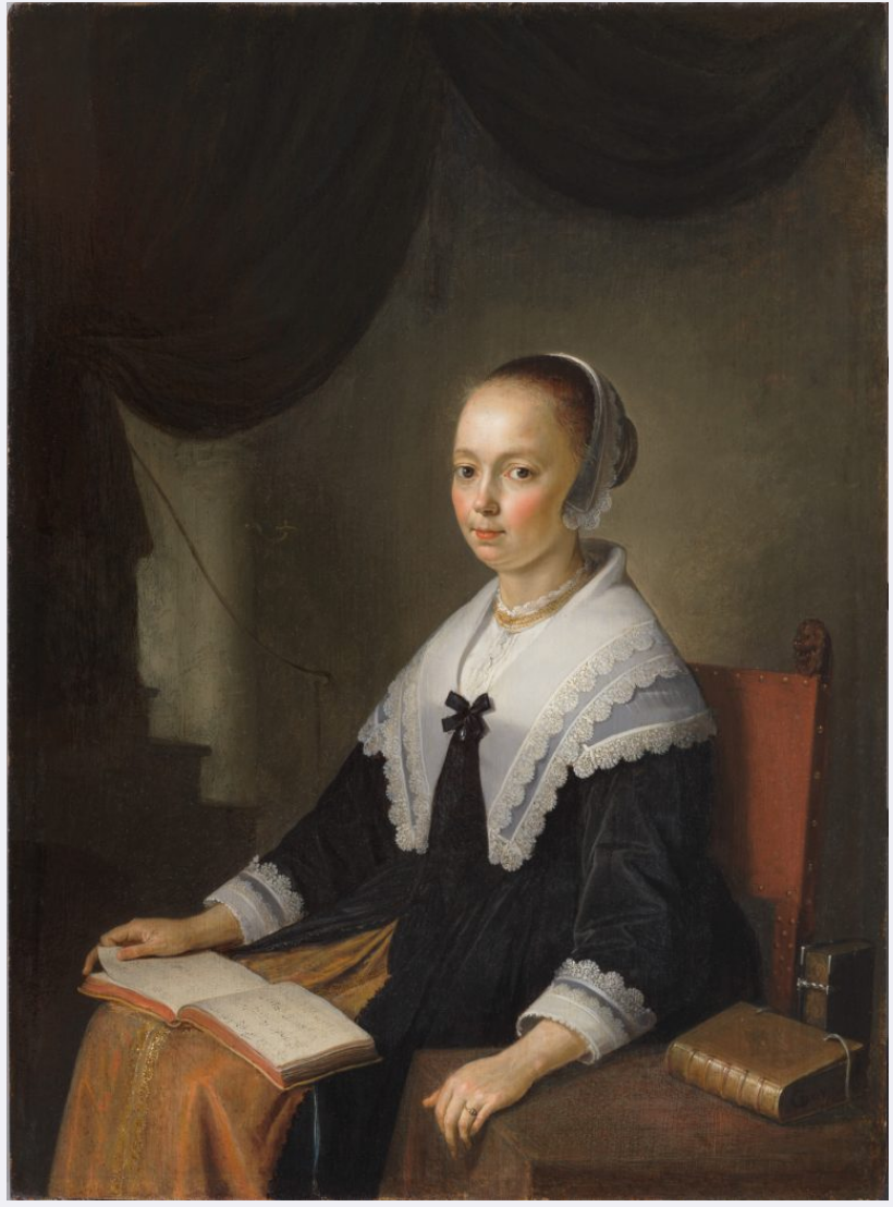 Gerrit Dou,  Portrait of a Lady, Seated with a Music Book on Her Lap,  circa 1640 (In  The Leiden Collection Catalogue )