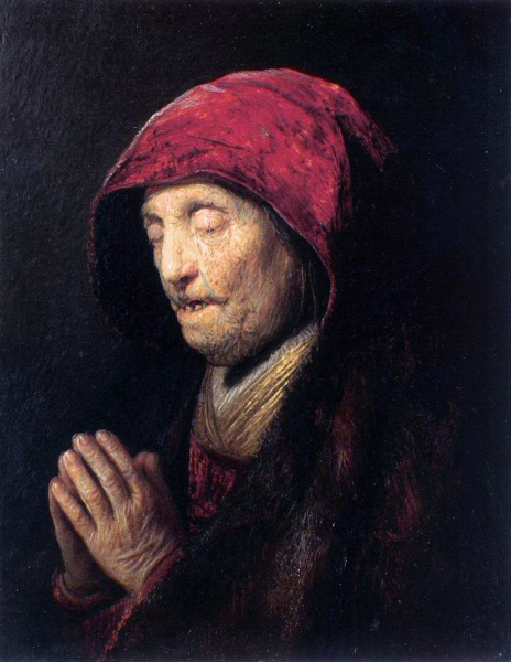 Rembrandt,  Old Woman Praying  (Wikicommons, Residentzgalerie)