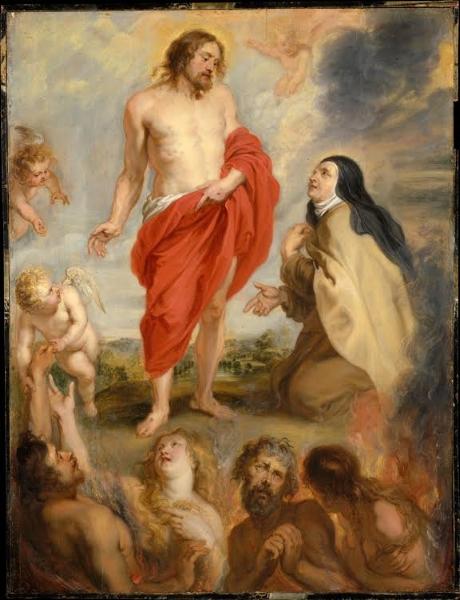 Rubens, St. Teresa of Avila Interceding for Souls in Purgatory, Church of the Discalced Carmelites, Antwerp, 1630-33, Dona Felipa Mendes Borges (Wiki Commons)