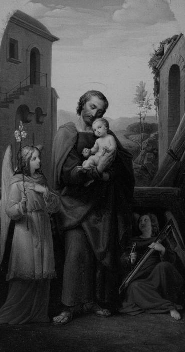 St. Joseph and Christ Child, 1840, Leopold Kupelwieser, Austrian, 1796-1862, Public Domain