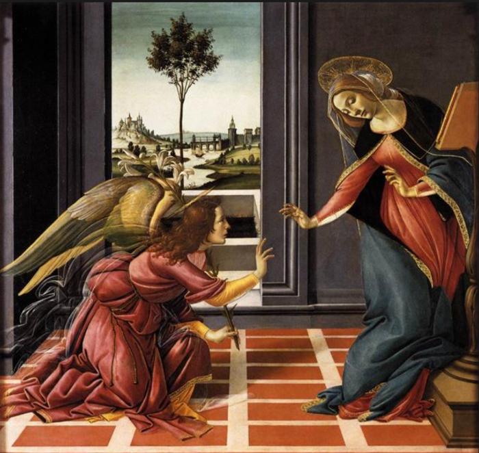 The Cestello Annunciation, Sandro Botticelli, Uffizi Gallery, Florence, Italy (Wikicommons)
