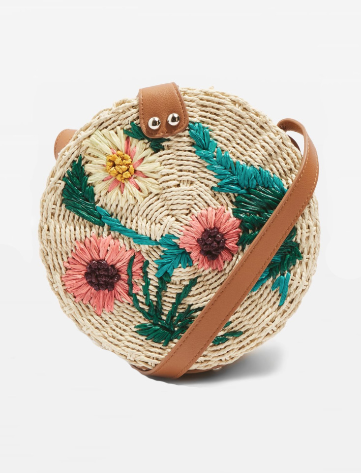5. Britney Floral Straw Cross Body Bag - Embroidered Detail - £26  (Image Topshop)